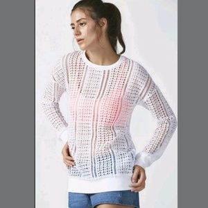 Fabletics Open Knit Sophie Tunic Crochet Pullover